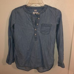 Denim half button down long sleeve shirt